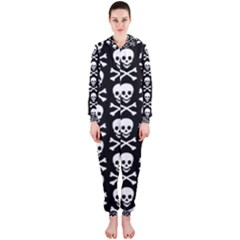 Skull And Crossbones Pattern Hooded Jumpsuit (ladies)