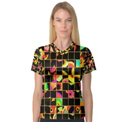 Pieces in squares Women s V-Neck Sport Mesh Tee