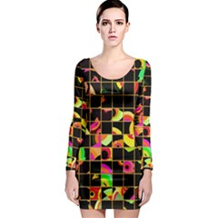 Pieces in squares Long Sleeve Bodycon Dress