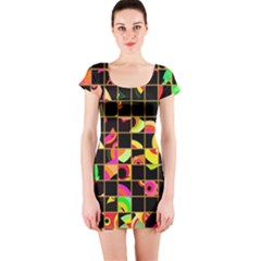 Pieces in squares Short sleeve Bodycon dress