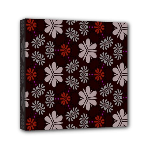 Floral Pattern On A Brown Background Mini Canvas 6  X 6  (stretched)