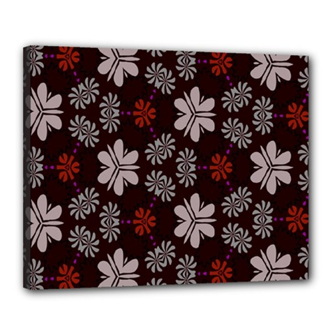 Floral Pattern On A Brown Background Canvas 20  X 16  (stretched)