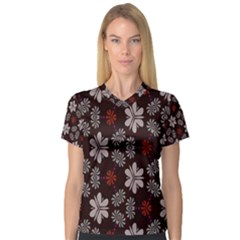 Floral Pattern On A Brown Background Women s V Neck Sport Mesh Tee