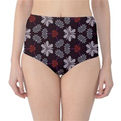 Floral Pattern On A Brown Background High Waist Bikini Bottoms