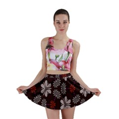 Floral pattern on a brown background Mini Skirt