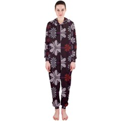 Floral pattern on a brown background Hooded OnePiece Jumpsuit