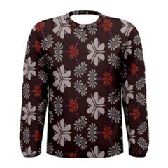 Floral Pattern On A Brown Background Men Long Sleeve T Shirt