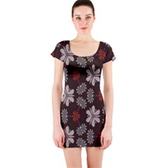 Floral pattern on a brown background Short sleeve Bodycon dress