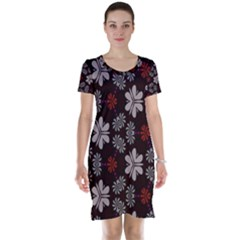 Floral Pattern On A Brown Background Short Sleeve Nightdress