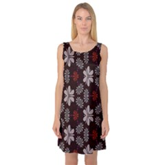 Floral pattern on a brown background Sleeveless Satin Nightdress