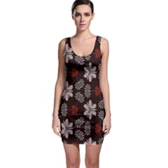 Floral pattern on a brown background Bodycon Dress
