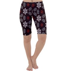 Floral pattern on a brown background Cropped Leggings