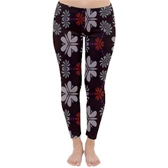 Floral pattern on a brown background Winter Leggings