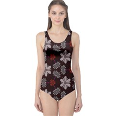 Floral Pattern On A Brown Background Women s One Piece Swimsuit