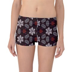 Floral Pattern On A Brown Background Boyleg Bikini Bottoms
