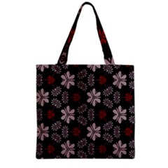 Floral pattern on a brown background Grocery Tote Bag