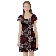 Floral Pattern On A Brown Background Short Sleeve Skater Dress