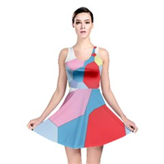 Colorful pastel shapes Reversible Skater Dress