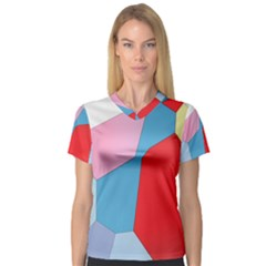Colorful pastel shapes Women s V-Neck Sport Mesh Tee