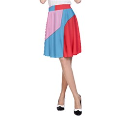 Colorful Pastel Shapes A Line Skirt