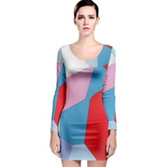 Colorful pastel shapes Long Sleeve Bodycon Dress