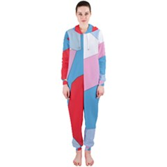 Colorful pastel shapes Hooded OnePiece Jumpsuit