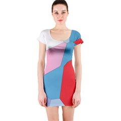 Colorful pastel shapes Short sleeve Bodycon dress
