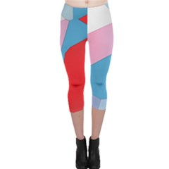Colorful pastel shapes Capri Leggings