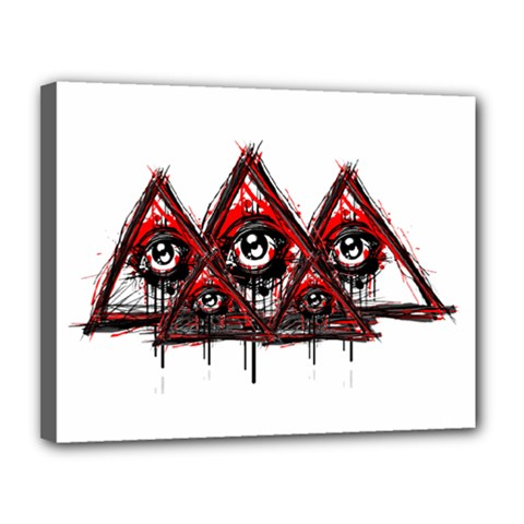 Red White Pyramids Canvas 14  X 11  (framed)