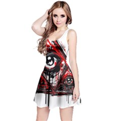 Red White pyramids Reversible Sleeveless Dress