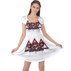 Red White Pyramids Cap Sleeve Dress