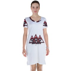 Red White Pyramids Short Sleeve Nightdress