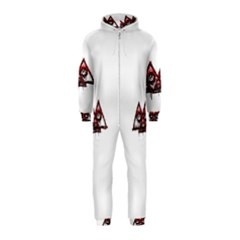 Red White pyramids Hooded Jumpsuit (Kids)
