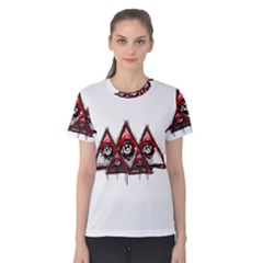 Red White pyramids Women s Cotton Tee