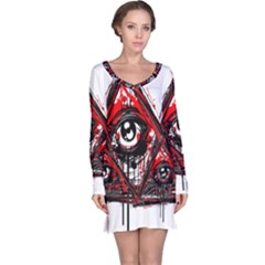 Red White pyramids Long Sleeve Nightdress