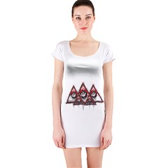 Red White Pyramids Short Sleeve Bodycon Dress