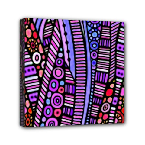 Stained Glass Tribal Pattern Mini Canvas 6  X 6  (framed)