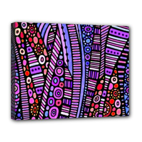 Stained Glass Tribal Pattern Canvas 14  X 11  (framed)