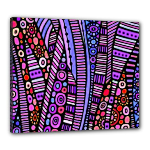 Stained Glass Tribal Pattern Canvas 24  X 20  (framed)
