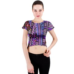 Stained glass tribal pattern Crew Neck Crop Top