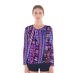 Stained Glass Tribal Pattern Women s Long Sleeve T Shirt