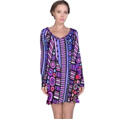 Stained Glass Tribal Pattern Long Sleeve Nightdress
