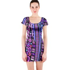 Stained glass tribal pattern Short Sleeve Bodycon Dress