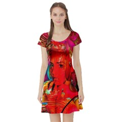 Mardi Gras Short Sleeve Skater Dress