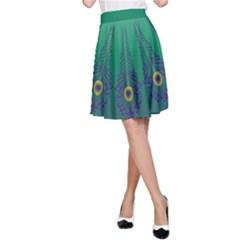 Peacock Green A Line Skirt