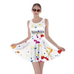 Multicolor Splatter Abstract Print Skater Dress