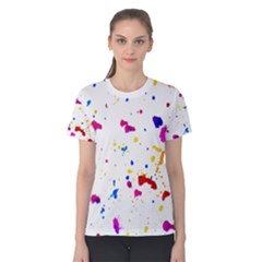Multicolor Splatter Abstract Print Women s Cotton Tee