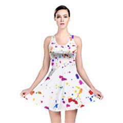 Multicolor Splatter Abstract Print Reversible Skater Dress