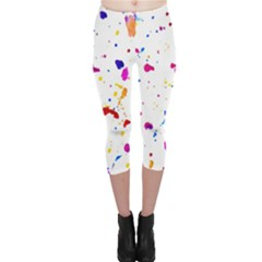Multicolor Splatter Abstract Print Capri Leggings