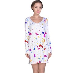 Multicolor Splatter Abstract Print Long Sleeve Nightdress